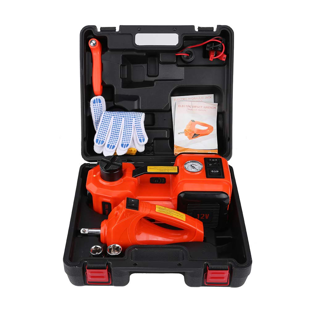 Zerone DC12V Electric Jack, 5Ton Auto Car Electric Floor Jack with Electric Impack Wrench and Inflator Pump 3 in 1 Emergency Car Repair Tool Kit