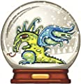 MYSTICAL DRAGON INSIDE SNOW-GLOBE LIGHT DARK BLUE GREEN YELLOW BROWN GOLD RED GREY BLACK WHITE Vinyl Decal Sticker Two in One Pack