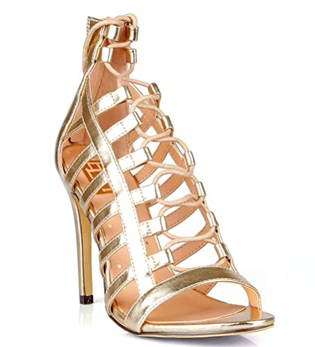 061fe47bac0 Fahrenheit Open Toe Caged Strappy Lace up Sandal High Heel Women s Shoes  Gold ...