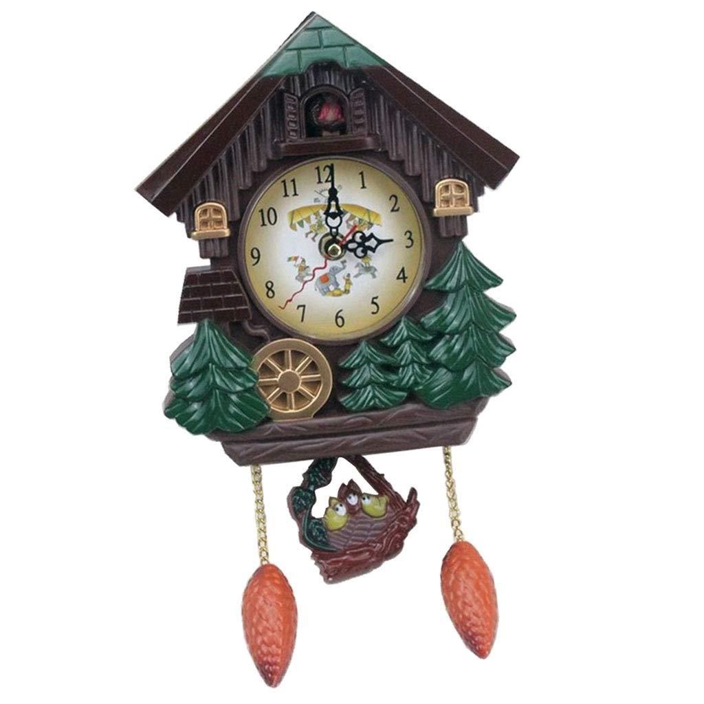 SM SunniMix Cuckoo Clock Quartz-Movement, Superior PC Material, Decorative Wall Clock, Children Room Decoration, Brown by SM SunniMix