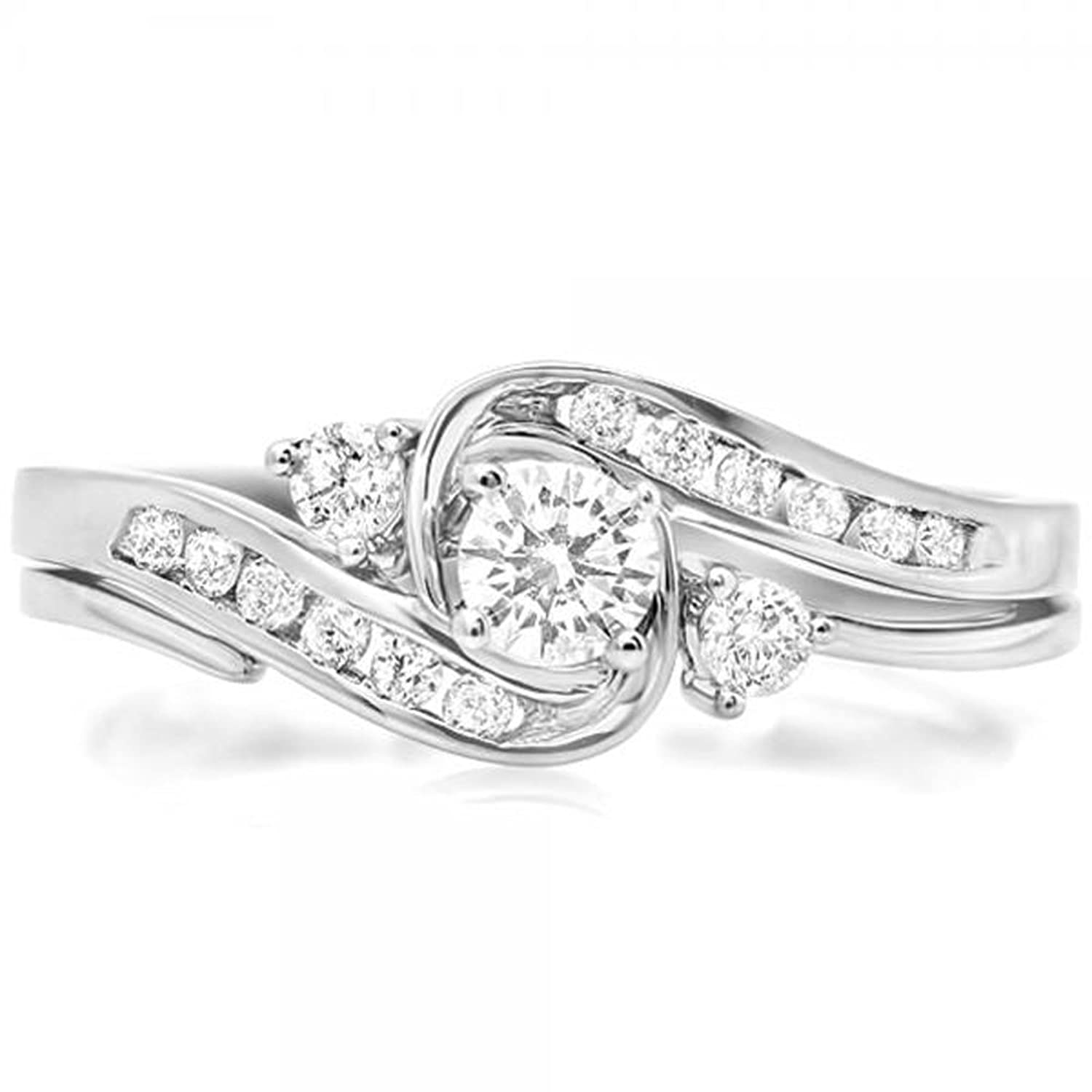 0.50 Carat (ctw) 10K White Gold Round Diamond Ladies Swirl Bridal Engagement Ring Set 1/2 CT