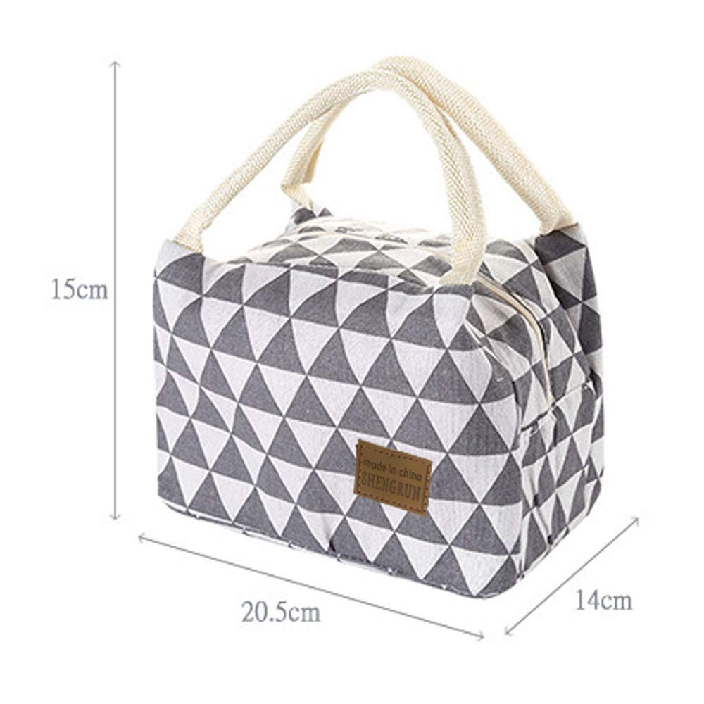 cobcob Lunch Bag,Lunch Box Lunch Container Canvas Portable Hand-held Insulated Lunch Tote Bag Thermal Cooler Bag for Women Men Adults Hiking Beach Fishing