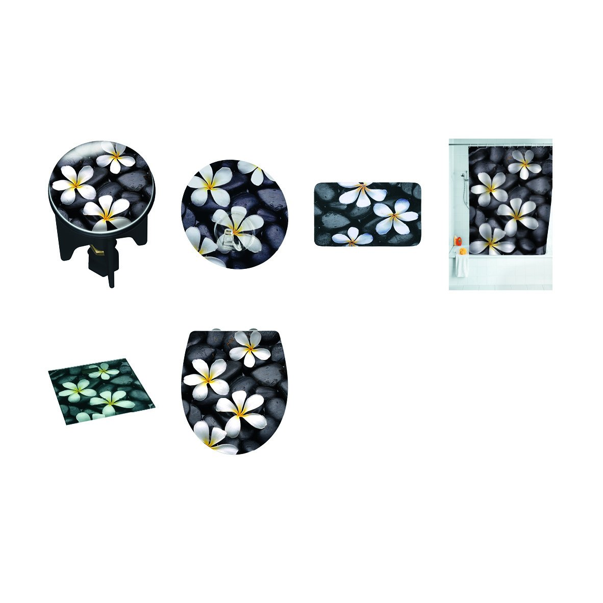3.9 x 6.5 x 3.9 cm Materiale plastico per Tutti Gli scarichi Commerciali Wenko 20867100 Tappo di lavabo Pluggy Meditation Multicolore
