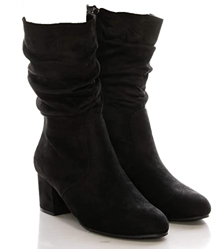 e7430b33f0ce CALICO KIKI Women s Slouch Chunky Low Heel Boots - Side Zipper Faux Suede Mid  Calf Boots