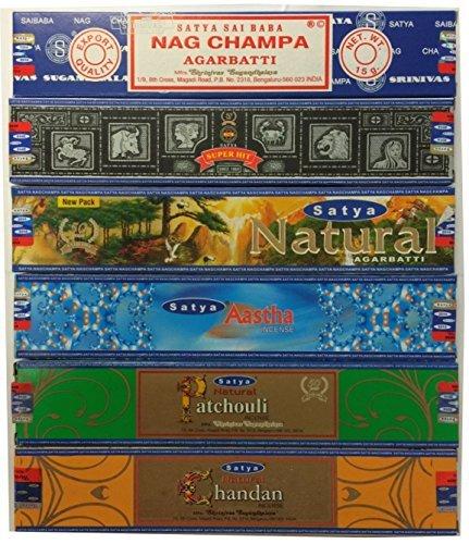 Set of 6 Nag Champa Superhit Natural Aastha Chandan Patchouli By Satya
