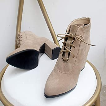 Amazon.com: Ninasill Combat Boots Women Pointed Toe High Heel Shoes Solid Color Suede Christmas Boots Lace-Up Boot: Clothing