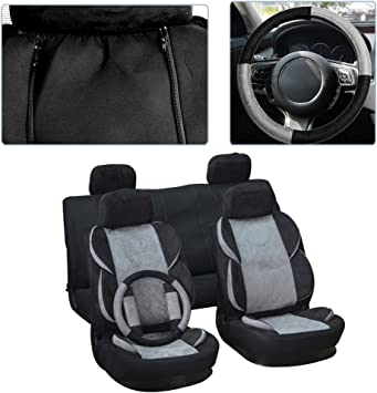 Black cciyu Universal Seat Cover w//Headrest//Steering Wheel Cover//Shoulder Pads 100/% Breathable Car Seat Cover Washable Auto Covers Replacement fit for Most Cars