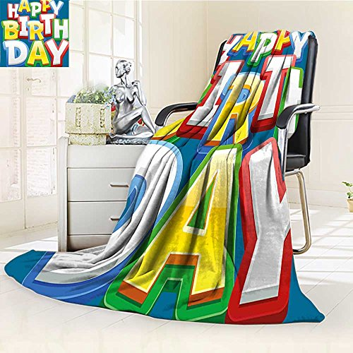 YOYI-HOME Fleece Duplex Printed Blanket 300 GSM Kids Rainbow Colored Happy Birthday Quote on Blue Backdrop Print Multicolor Reversible Super Soft Warm Fuzzy Bed Blanket /W47 x H31.5