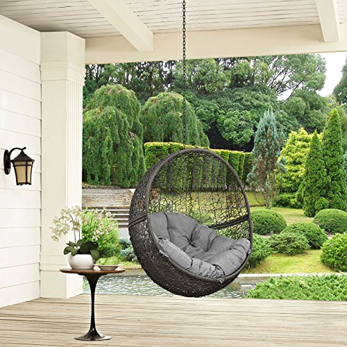 Modway EEI-2654-GRY-GRY Hide Wicker Rattan Outdoor Patio Balcony Porch Lounge Egg Swing Chair Set with Hanging Steel Chain Gray Gray (Interior Swing Chair)