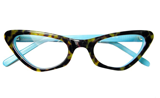 70a0e275d36 Circleperson women Vintage Cat eye glasses frames Spectacles Optical  Acetate Tortoise+lake blue-Middle
