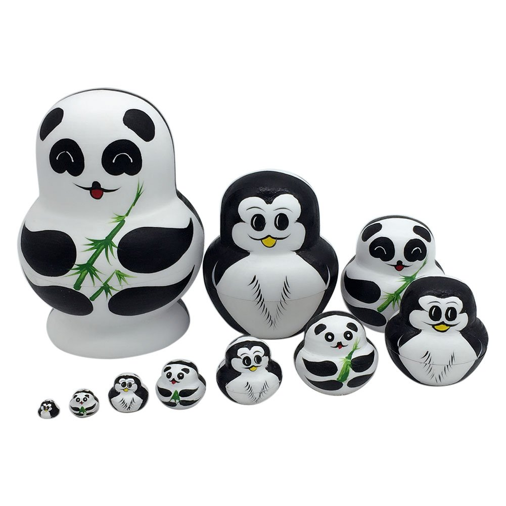 Crewell Pinguino Carino Panda Dipinto a Mano in Legno, 10 Strati matrioske Russe Doll Matryoshka Toys Home Decoration Kids Gifts 10Strati matrioske Russe Doll Matryoshka Toys Home Decoration Kids Gifts