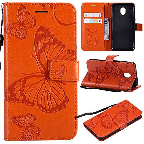 Price comparison product image NOMO Samsung Galaxy J3 2018 (SM-J337) Case, J3 Achieve / J3 Star / Express Prime 3 / Amp Prime 3 / Sol 3 / J3 V 3rd Gen / J3 Orbit Case Wallet Flip Leather Butterfly Case Cover with Card Holder Phone Case, Orange