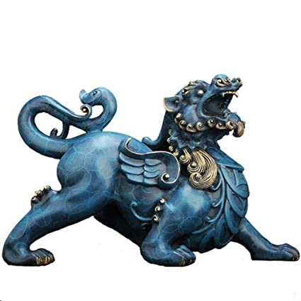 Chinese brass Myth Figurine Wealth Fly Dragon copper Statue