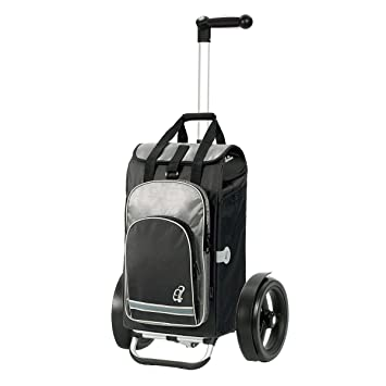 ball-bearing wheels ergonomic 3-position handle and aluminium frame Volume 60L Andersen Shopping trolley Tura with bag Hydro black thermal bag
