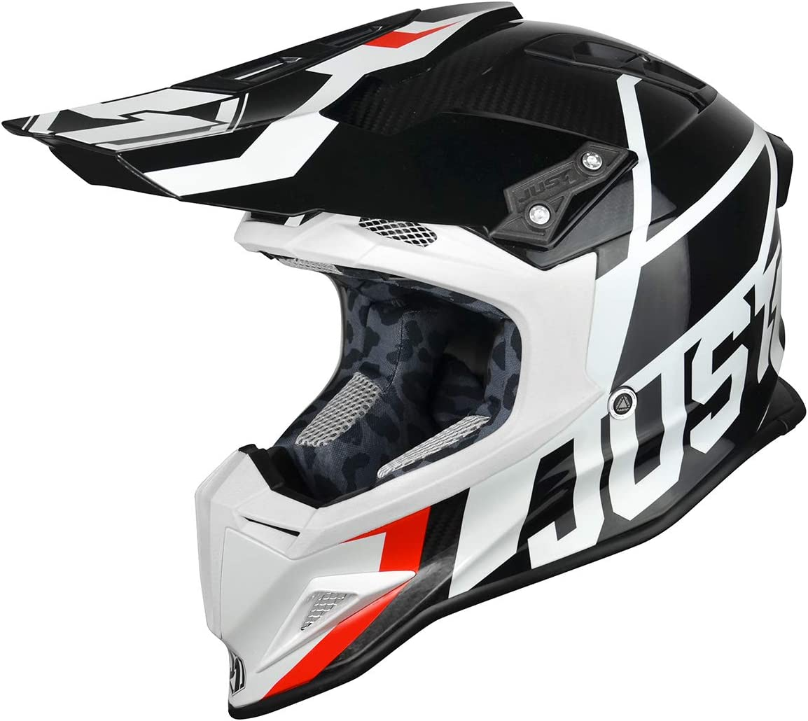 Flat White, Carbon Unit Red White-Medium JUST1 J12 Unit Carbon Fiber Shell Off-Road Adult Motorcross Motorcycle helmet