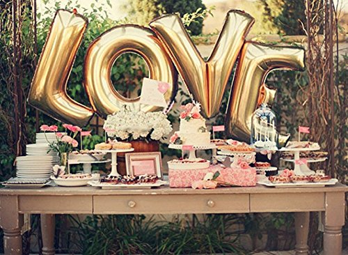 DRRE Love Balloon Gold Letter Balloons Decorations for Birthday Bachelorette Engagement Wedding Bridal Shower Graduation Party Supplies (Love)