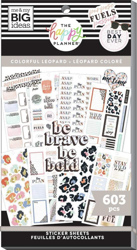 The Happy Planner Sticker Value Pack - Planner Accessories - Colorful Leopard Theme - Multi-Color - Great for Planning, Project & Scrapbooking - 30 Sheets, 603 Stickers: Office Products