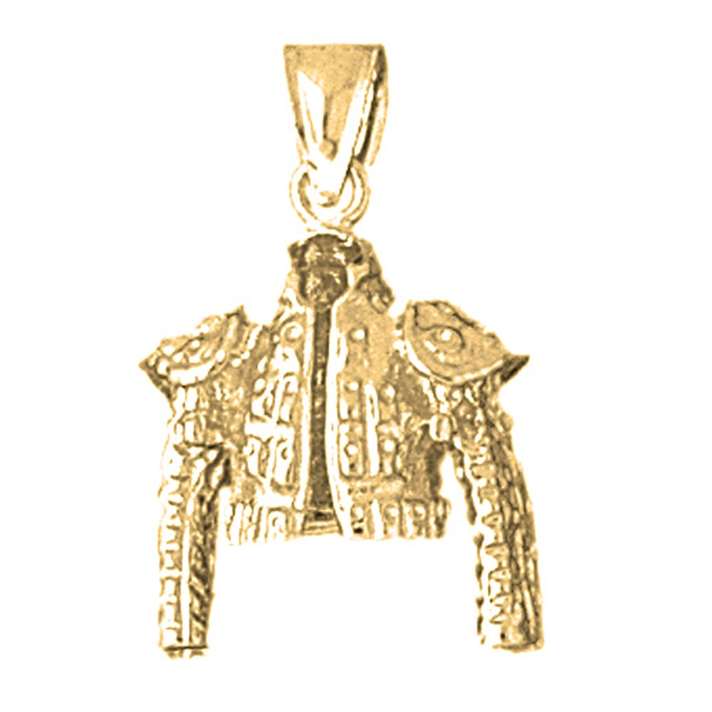 Yellow Gold-plated 925 Silver 26mm Matador Jacket Pendant Necklace by NecklaceObsession