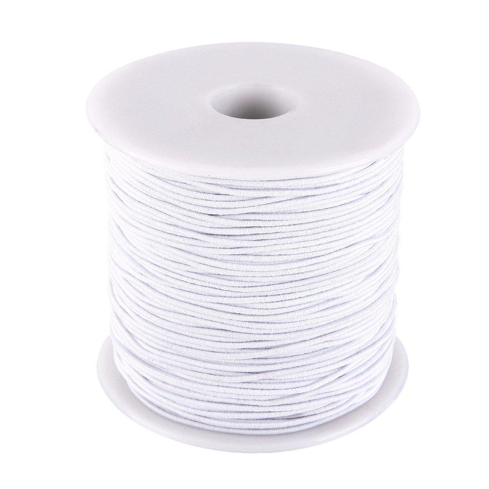 KeyZone 1 mm Elastic Cord Thread Beading String Cords, 100 Meters, Black