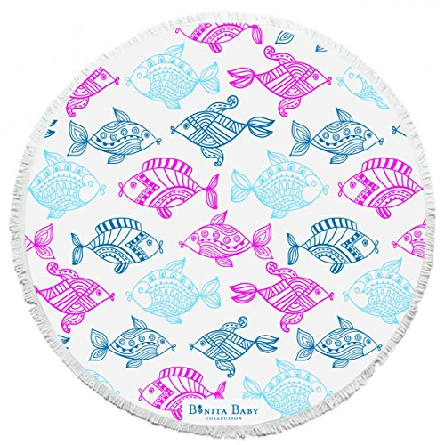BONITA BEACH COLLECTION Round Baby Beach Towel | 100% Cotton | Soft Plush Material w/Fringe Tassels | Tropical Fish Girls Roundie Design for Children, 3' Diameter Bright Tropical Fish