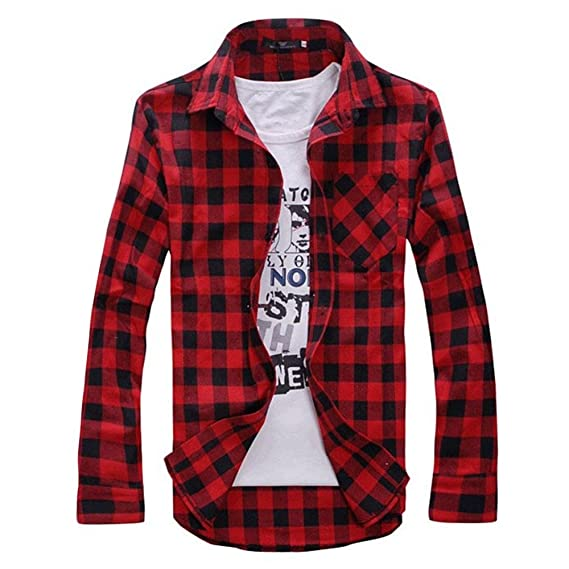 7bd46bf7a63d Men Shirt 16 Spring Autumn New Plaid Fashion Dress Men Shirt Slim Fit Long  Sleeve Plus Size 2Xl Male Social Casual Shirts Camisa: Amazon.in: Clothing  & ...