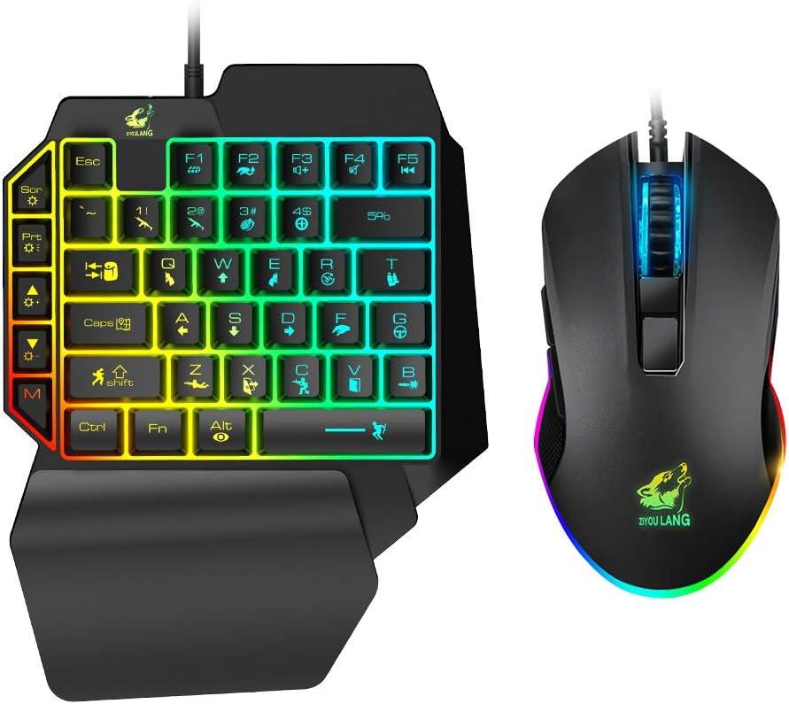 Teclado Gaming Para Una Mano + mouse RGB(xam)