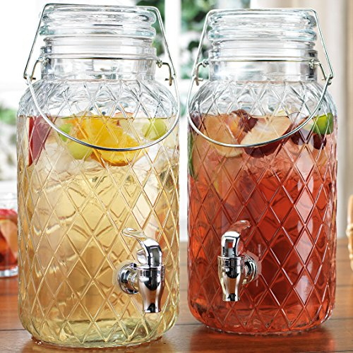 Home Essentials Elegant Glass Twin Beverage Dispenser with with Locking Clamp & Acrylic Spigot -Two Dispensers 1 Gallon Each (Diamond Pattern Twin Jugs), , Diamond Twin Jugs- 1 Gallon (Pattern Jug)
