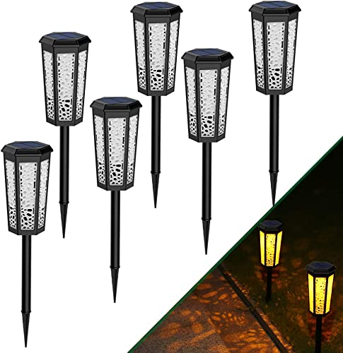 Solar Powered Pathway Lights,2 Modes Amber White RBG Changing Outdoor Garden Decorative Led Lighting Waterproof Solar Light for Landscape, Path, Yard, Patio, Driveway, Walkway Lawn Decor 6 Pack