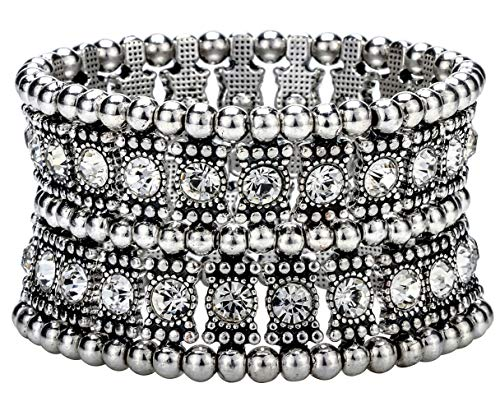 2 Row Stretch Bracelet - Hiddleston Multilayer 2 Row Jewelry Gothic Stretch Bracelet Sleeve Arm Cuff Rocker Wristband Heavy Metal Bobo Halloween Costume Women Accessory