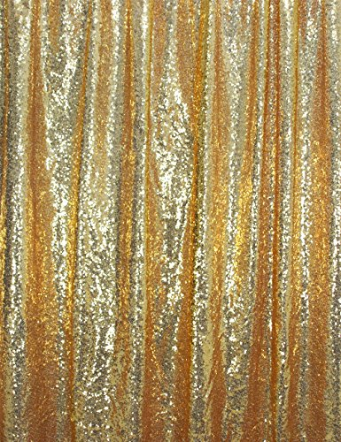 Langxun 8.5ft X 8.5ft Gold Shimmer Sequin Fabric Photo Booth Backdrop Sequin Curtain (GOLD 8.5ftx8.5ft) Christmas Trees Decorated With Mesh Ribbon