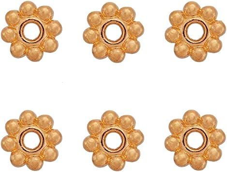 8mm 100 SILVER GOLD SMOOTH PLATED METAL SNOWFLAKE FLOWER SPACER BEADS