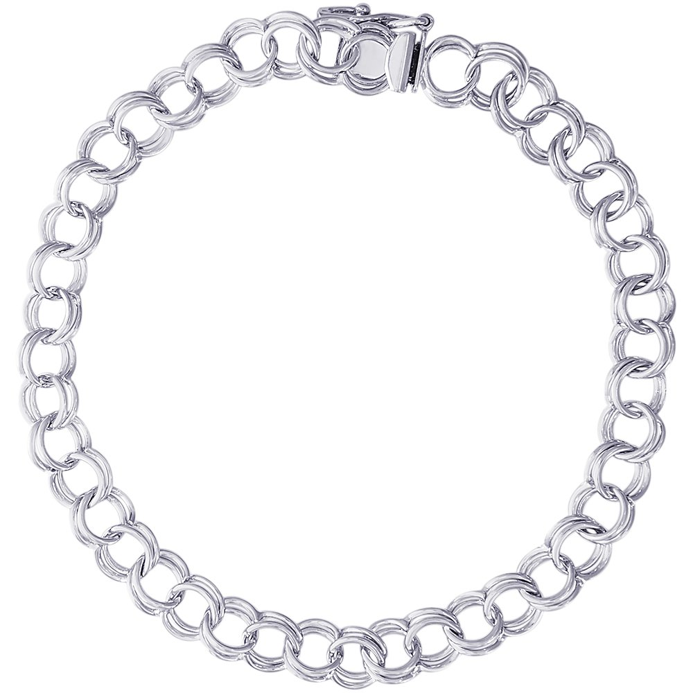 Rembrandt Charms, 8'' Double Link Curb Classic Charm Bracelet, .925 Sterling Silver
