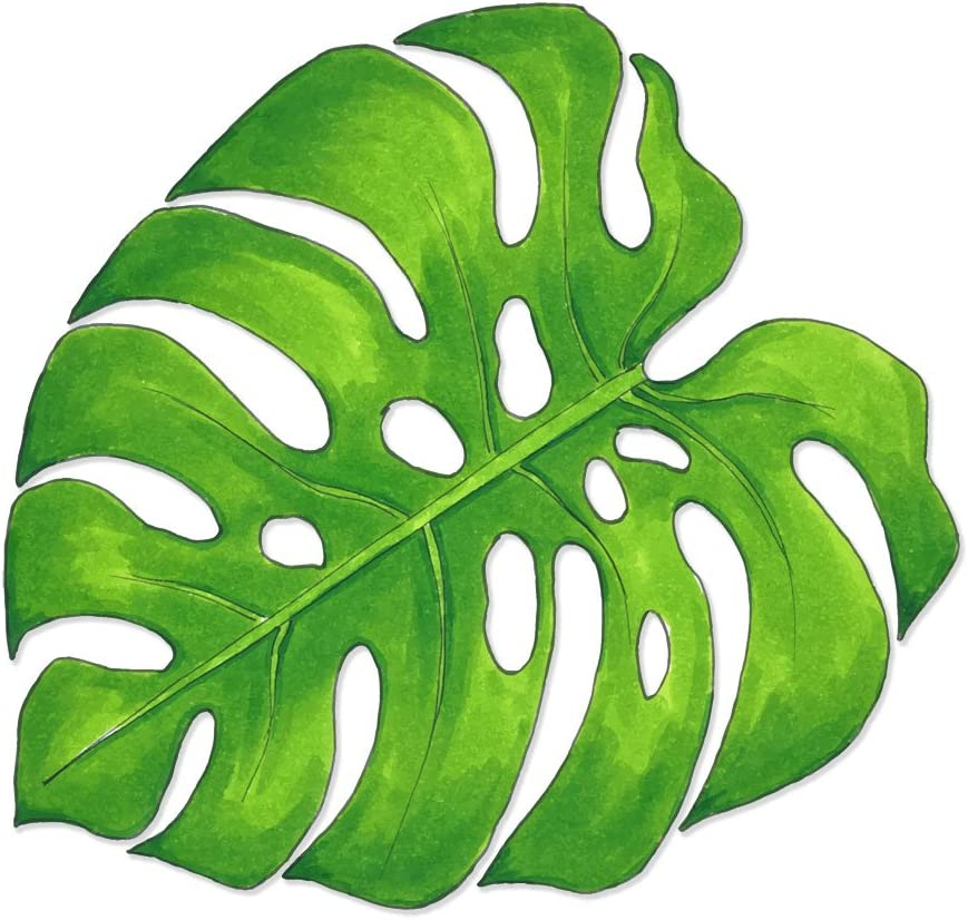 Watercolor Monstera Swiss Cheese Tropical Plant Leaf Vinyl Decal Wrap for Pressure Cooker - Full Color