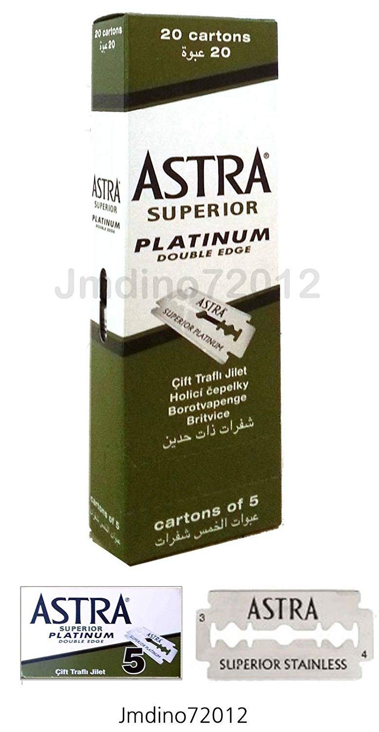 Astra Superior Platinum Double Edge Shaving Razor Blades 100 Pcs Barber Favored by Astra