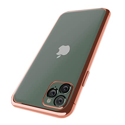 OWM iPhone 11 Pro Max Cover Case Clear TPU Silicone and [Tempered Glass  Screen Protector] Impact Bumper Case for iPhone 11 Pro Max (2019) , Rose  Gold