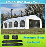26'x16' PVC Party Tent - Heavy Duty Wedding Canopy Gazebo Carport - with Storage Bags - By DELTA Canopies