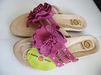 af284b253b7 Earth Spirit purple   wine color Leather Flip Flops with Flower Sandals  Womens 6.5