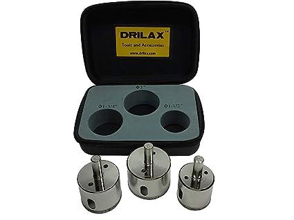 Drilax 3 Pcs Diamond Drill Bit Set Extra Tall 1 1 2 1 3 4 2 For Ceramic Porcelain Tile Granite Quartz Countertop Hole Saws Shower Faucet Drilling Tool 3 Pack Amazon Com Industrial Scientific