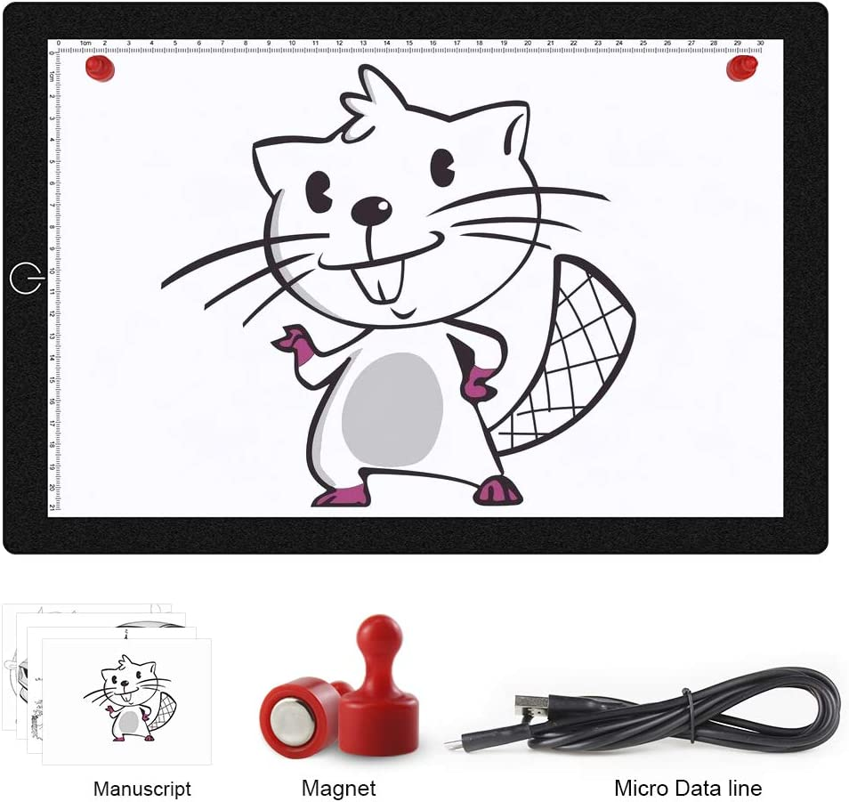 FastDeng LED Light Box Tracer A4 Ultra-Thin Portable USB Power Cable Dimmable Brightness LED Artcraft Tracing Lightbox Light Pad for Artists Drawing Sketching Animation Stencilling X-ray Viewing