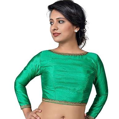 2f6226bfabdf2 Bollywood Blouses Women s Readymade Back Open Full Sleeves Raw Silk Saree  Blouse Medium Green