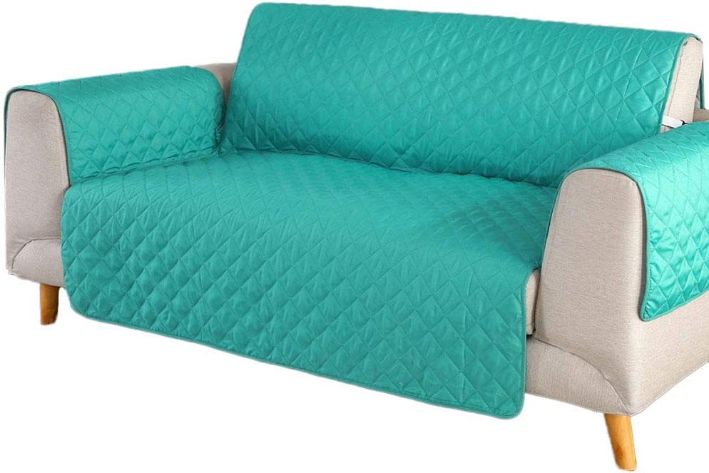 Solid Color Reversible Sofa Cover, Quilted Furniture Protector, Couch Covers for 3 Cushion Couch Couch Covers for Dogs Sofa slipcover-Green Loveseats