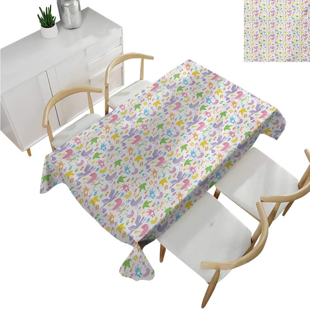 familytaste Baby,Wholesale tablecloths,Stork with Newborn Bunny Toys Milk Bottles Infant Item Silhouettes Stroller Cartoon,Fabric Print Tablecloth 60''x 90''