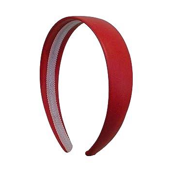 Amazon.com  Bright Red 1 Inch Wide Leather Like Headband Solid Hair ... b1382b91c3c