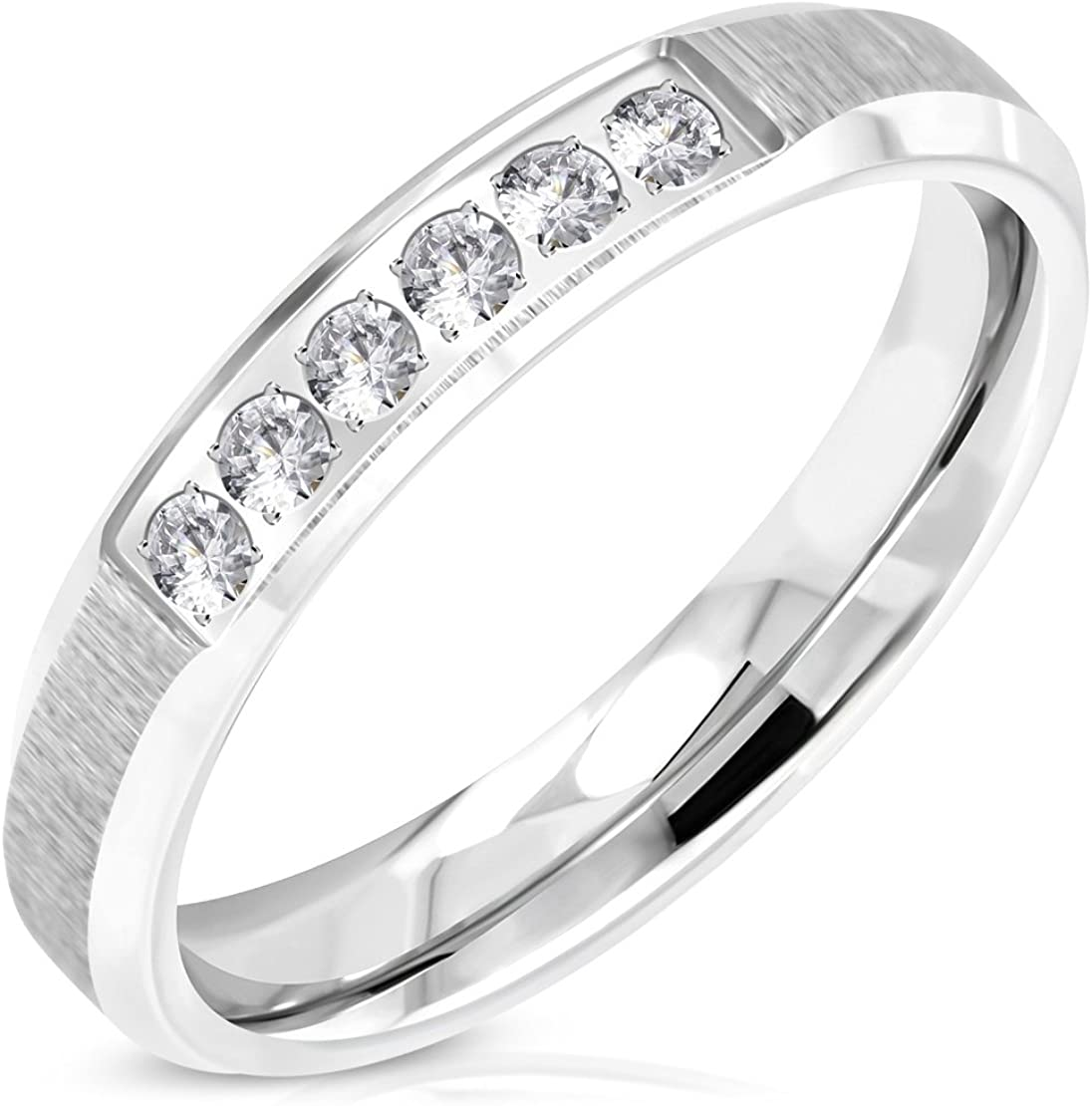 Stainless Steel Satin Finished Comfort Fit Half-Round Band Ring with Clear CZ