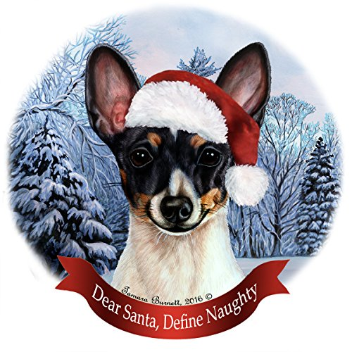 Holiday Pet Gifts Toy Fox Terrier (Black Tri-Color) Santa Hat Dog Porcelain Christmas Tree (Black Fox Terrier Ornaments)