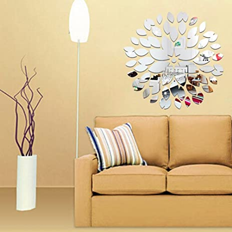 Amazon.com: 45pcs 3D DIY Elliptic Petals Mirror Wall Sticker Round ...
