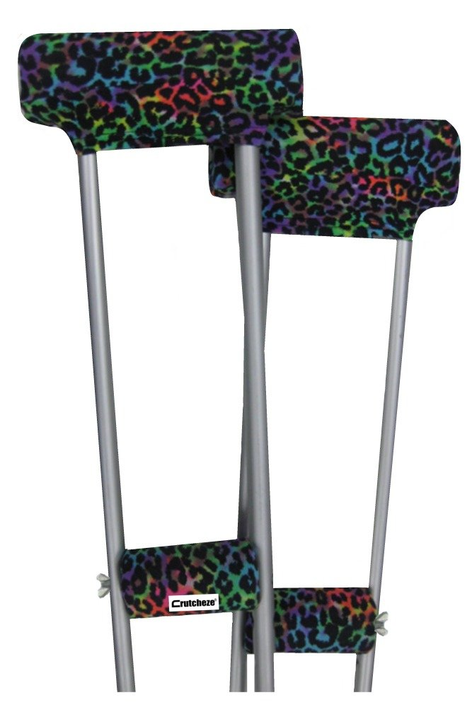 Crutcheze Leopard Tie Dye Underarm Crutch Pad and Hand Grip Covers with Comfortable Padding Washable Designer Fashion Orthopedic Products Accessories