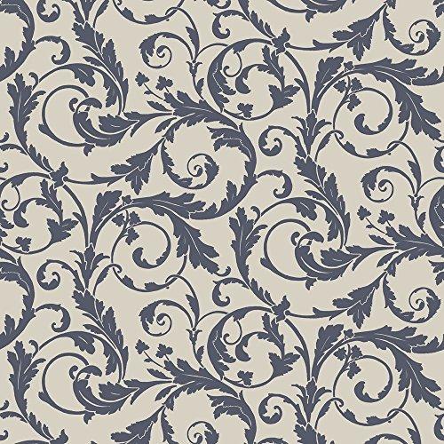 PV00234 - Regency Scroll Design Blue Blendworth Wallpaper ()