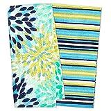 Fiesta Calypso Turquoise Floral & Cool Blue Stripe Kitchen Towel Set