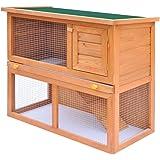 vidaXL Rabbit Hutch Cage Wooden 1 Door Pet Guinea Pig Chicken Coop Run House